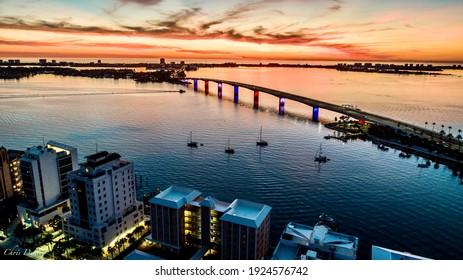 Sarasota Bayfront sunset aerial view