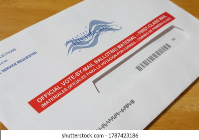 SARASOTA, FLORIDA - JULY 31, 2020 : Absentee voter vote by mail ballot.
