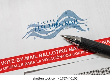 SARASOTA, FLORIDA - JULY 31, 2020 : Official Election Mail vote by mail absentee voter balloting materials.
