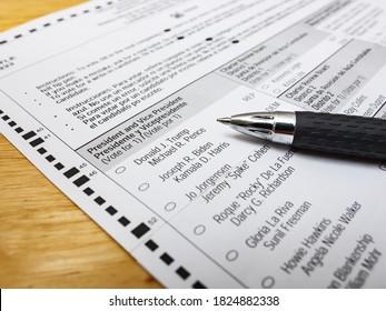 SARASOTA, FLORIDA - SEPTEMBER 30, 2020 : Absentee voter vote by mail ballot. 2020 Presidential ballot, Donald J. Trump vs Joseph R. Biden.