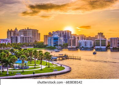 Sarasota, Florida, USA downtown skyline on the bay at sunrise.