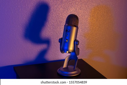 Sarasota, Florida / USA - November 2019: Blue Yeti USB microphone in silver. This product has been around since 2009 and produces studio-quality recordings for us everyday folk, especially Vlogers.