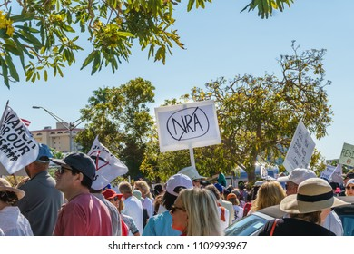Sarasota, FL/US -March 24, 2018 - Protesters gather at the student-led protest March For Our Lives demanding government action on gun control following the mass shooting in Parkland, Florida.