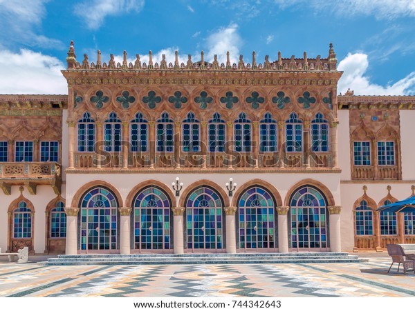 SARASOTA, USA - APRIL 22, 2016:  Ringling's mansion Ca d'Zan modeled after the Doges Palace in Venice. Built by circus magnate John Ringling in 1924.
