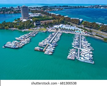 Sarasota Yacht Club Marina in Sarasota Florida shot by aerial drone