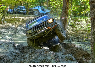 SARATA MONTEORU, BUZAU, ROMANIA – 11-14 October, 2018: Unknow Competitor at GTC TROPHY 2018  The longest day! Romanian Off-Road Championship