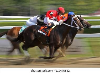SARATOGA SPRINGS - AUG 31: Jockey Joel Rosario and Tarmarind Hall compete in The Big Bambu Stakes at Saratoga Race Course on Aug 31, 2012 in Saratoga Springs, NY.