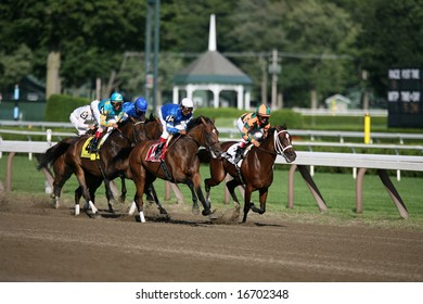 SARATOGA SPRINGS - August 16: Gabriel Saez Aboard Proud Spell Leads Rajiv Maragh Aboard Little Belle the First Time down the Stretch in the Alabama Stakes August 16, 2008 in Saratoga Springs, NY.