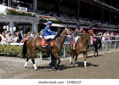 SARATOGA SPRINGS - August 9:  Tommasi with Michael Luzzi Aboard is Handed Over to a Pony Boyfor the Post Parade Prior to the Solomon Northup Stakes  August 9, 2008 in Saratoga Springs, NY.