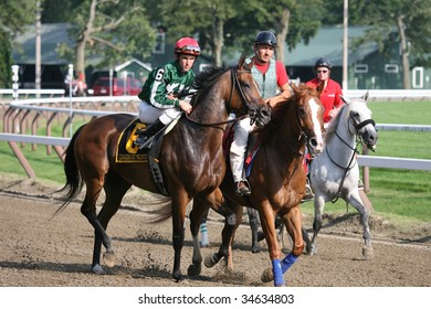 SARATOGA SPRINGS, NY- AUGUST 1:  Roman Dominquez aboard Carribean Sunset (IRE) in the post parade before the 71st Diana Stakes at Saratoga Race Track,  August 1, 2009 in Saratoga Springs, NY.