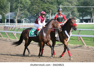 SARATOGA SPRINGS, NY- AUGUST 1:  Javier Castellano aboard Criticism (GB) in the post parade before the 71st Diana Stakes at Saratoga Race Track,  August 1, 2009 in Saratoga Springs, NY.