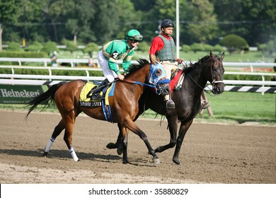 """SARATOGA SPRINGS, NY- AUGUST 24: Julien Leparoux aboard """"Soroity Sister"""" in the post parade for the Union Avenue Stakes at Saratoga Race Track, August 24, 2009 in Saratoga Springs, NY."""