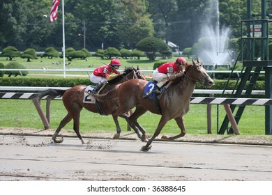 """SARATOGA SPRINGS, NY- AUGUST 30: Javier Castellano aboard """"Afrikaner"""" on the outside Leads in the stretch of the 1st race at Saratoga Race Track, August 30, 2009 in Saratoga Springs, NY."""