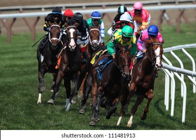 Saratoga Springs NY - AUGUST 4: Jockey JJoel Rosario aboard Craving Carats Leads in the clubhouse turn on the way to winning the fifth race on August 4, 2012 Saratoga Springs, New York