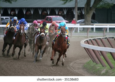 "SARATOGA SPRINGS, NY- AUGUST 8:  ""Heart Ashley"" with Edgar Prado aboard Leads at the top of the stretch in The Test Stakes at Saratoga Race Track, August 8, 2009 in Saratoga Springs, NY."