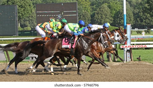SARATOGA SPRINGS, NY - JUL 24: The field for the Coaching Club American Oaks makes its first pass by the Finish at Saratoga Race Course on Jul 24, 2010 in Saratoga Springs, NY.