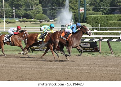 """SARATOGA SPRINGS, NY - JULY 20: """"So many Ways"""" with Javier Castellano aboard Leads in the stretch run of the Grade III Schuylerville Stakes on July 20, 2012 Saratoga Springs, New York"""