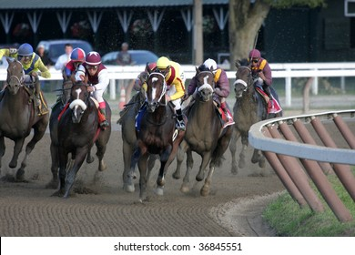 "SARATOGA SPRINGS, NY- SEPT 5: ""Rachel Alexandra"" with Calvin Borel aboard leads through the turn in the Grade I Woodward Stakes at Saratoga Race Track, September 5, 2009 in Saratoga Springs, NY."