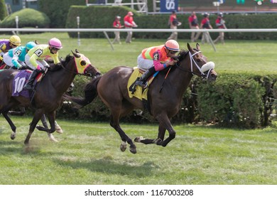 Saratoga Springs, NY, USA - August 25, 2018: Way Early ridden by Manuel Franco wins the second race on Travers day August 25, 2018 Saratoga Springs, NY, USA