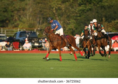 SARATOGA SPRINGS - SEPTEMBER 4 :  Shamrock and Bloomfield players in action during the 4th chukker at Saratoga Polo Club September 4, 2009 in Saratoga Springs, NY.