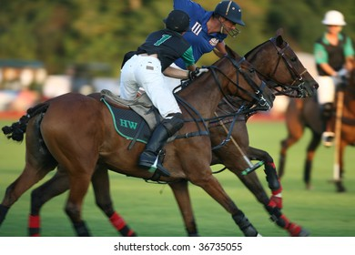 SARATOGA SPRINGS - SEPTEMBER 4 :  Shamrock and Bloomfield players in action at Saratoga Polo Club September 4, 2009 in Saratoga Springs, NY.