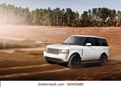 Saratov, Russia - September 1, 2014: Car Land Rover Range Rover fast speed drive off-road