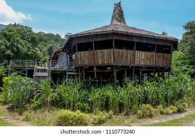 SARAWAK, MALAYSIA, APRIL 1, 2018 - The Bidayuh Longhouse in Sarawak Cultural Village in Kuching.