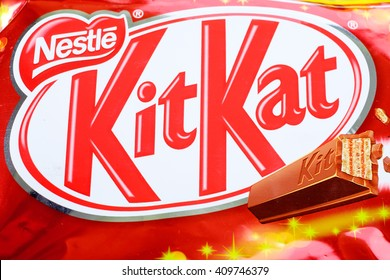 SARAWAK, MALAYSIA - April 23,2016: Kit Kat, is chocolate wafer covered with bar created in 1911 by Rowntree's of York, England. Now, Kit Kat manufactured by Nestle and sell globally.
