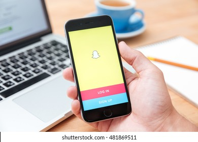 SARAWAK. MALAYSIA - APRIL 23,2016: Man holding iphone 6 showing Snapchat app. Snapchat is popular a photo messaging application, released in September 2011.
