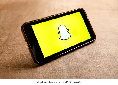SARAWAK. MALAYSIA - APRIL 23,2016: Snapchat is popular a photo messaging application, released in September 2011.
