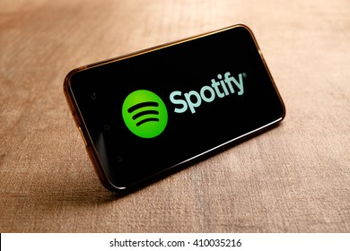 SARAWAK. MALAYSIA - APRIL 23,2016: Spotify music service that offers legal streaming music. Was launched in October 2008.