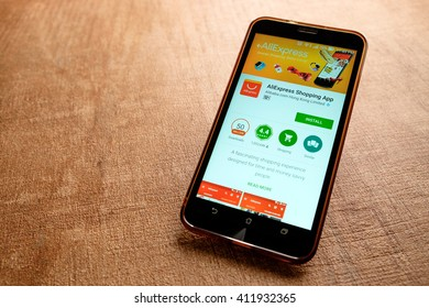 SARAWAK, MALAYSIA -April 27th,2016: Aliexpress  apps on google playstore. Aliexpress is one of popular e-commerce application launch in 2010 offering over 100 millions of product listings