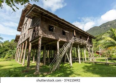 Sarawak, Malaysia - December 14, 2015: Melanau house, Sarawak Cultural Village, Sarawak, Borneo, Malaysia