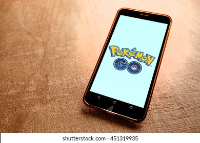 SARAWAK, MALAYSIA - JULY 11TH, 2016: Pokemon Go logo on android phone. Pokemon Go is a free-to-play augmented reality mobile game developed by Niantic for iOS and Android devices.