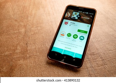 SARAWAK, MALAYSIA -May 1st,2016:  Pocket apps on google playstore. Pocket, previously known as Read It Later, is an application and service for managing a reading list of articles from the Internet.