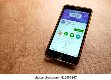 SARAWAK, MALAYSIA -May 1st,2016:  Viber apps on google playstore. Viber is an instant messaging and Voice over IP (VoIP) app for smartphones developed by Viber Media.