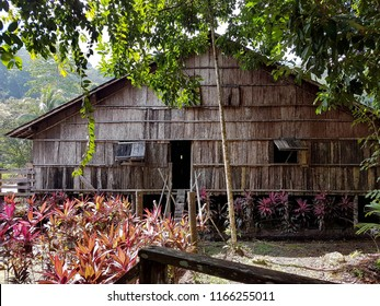 Sarawak, Malaysia-July 27, 2018: View of traditional houses in Kampung Budaya Sarawak.17-acre site exploring local ethnic groups via longhouse replicas, programs & cultural performances.