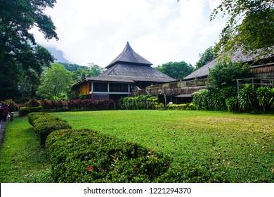 Sarawak, Malaysia-July 27, 2018: View of traditional houses in Kampung Budaya Sarawak.17-acre site exploring local ethnic groups via longhouse replicas, programs & cultural performances.