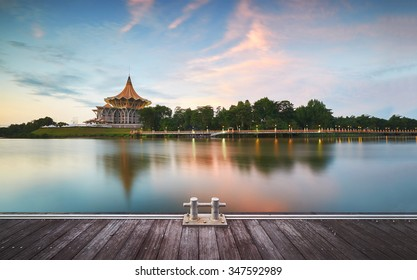 Sarawak State Legislative Assembly (Dewan Undangan Negeri), Kuching,Sarawak, Malaysia. (Soft focus, slight motion blur) - Shutterstock ID 347592989