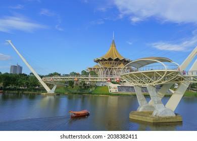 Sarawak state legislative and Darul Hana bridge, Kuching - Shutterstock ID 2038382411