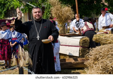 "The ""Sarbatoarea Buzduganului"" festival from Dragus,Fagaras, Romania. People dressed in romanian traditional clothes. 19-August-2015"