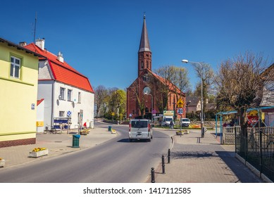 Sarbinowo, Poland - May 12, 2017: Roman catholic Assumption Church in Sarbinowo, small village on the Baltic Sea coast