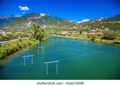 the Sarca river in a small town Torbole on the lake Garda, Italy
