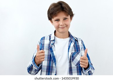 Sarcasm emotion Child boy portrait against white background