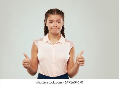 Sarcasm emotion teen girl portrait against white background