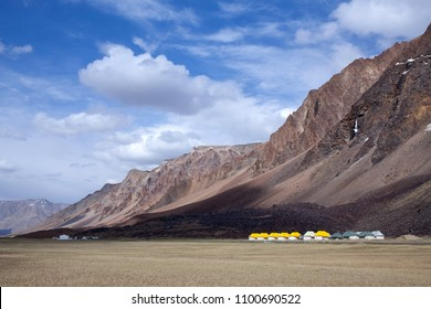 Sarchu camping tents on the Leh - Manali Highway in Ladakh, Jammu and Kashmir state, North India