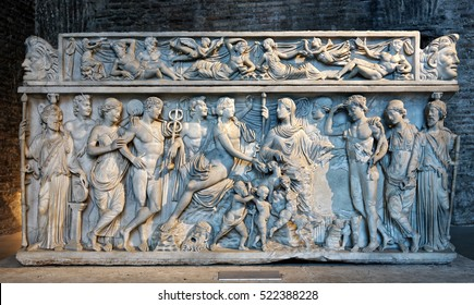Sarcophagus with Dionysus and Arianne from 3rd century BC, Rome, Italy
