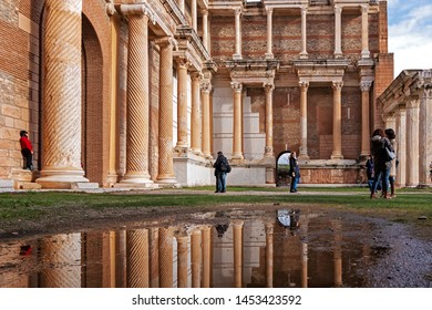 Sard, Manisa, Turkey. May 27, 2019,  city of Sardes. The ancient city is frequented by tourists and photographers. Photo trips to the ancient city are organized. Tourists taking pictures.