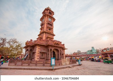 Sardar Market and Clock Tower (Ghantaghar) - People walking and shopping around market -Jodhpur, India