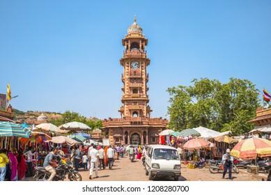 Sardar Market and Ghanta ghar Clock tower, jodhpur